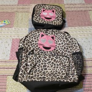 Girl leopard print backpack and lunch bag